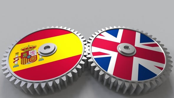 Thumbnail for Flags of Spain and The United Kingdom on Meshing Gears