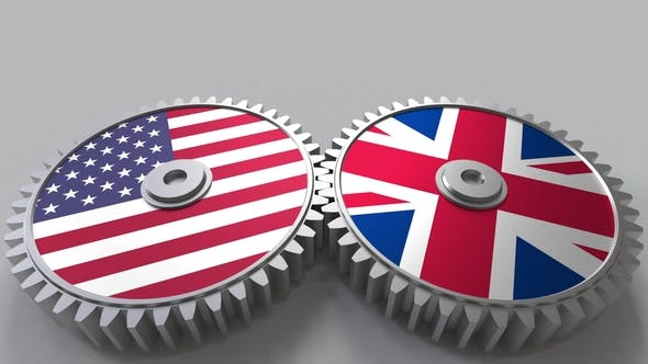 Thumbnail for Flags of the USA and The United Kingdom on Meshing Gears