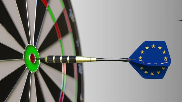 Thumbnail for Flags of France and the European Union on Darts Hitting Bullseye of the Target