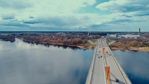Riga City South Bridge Daugava River and Il City