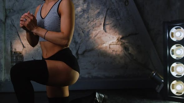 Thumbnail for Slender Beautiful Sporty Sexy Girl Doing Lunges