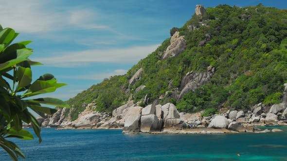 Tanote Bay on Sunny Day. Blue Bay and Huge Granite Rocks. Koh Tao, Thailand