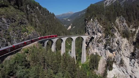 Thumbnail for Aerial View of Train on Landwasser Viaduct, Switzerland