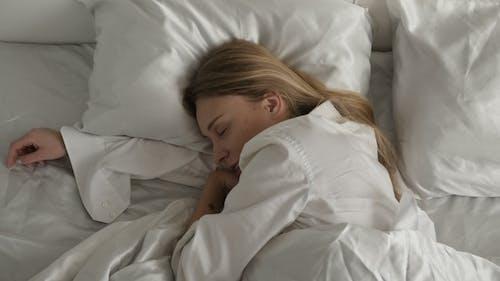 Girl Is Sleeping in the Bedroom