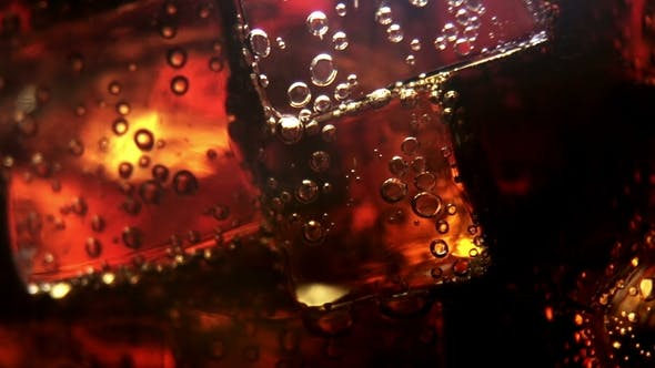 Thumbnail for Cola Background. Pouring Cola with Ice and Bubbles in Glass