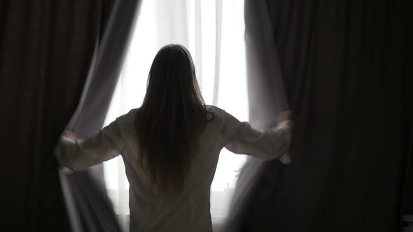 Thumbnail for Girl Is Opening the Curtains