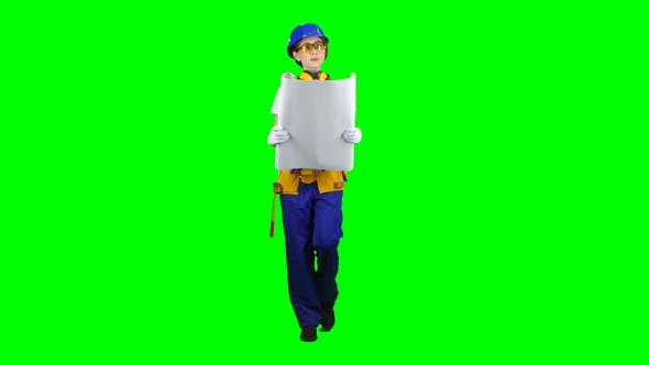 Thumbnail for Girl Designer of the Construction Site Carries a Drawing