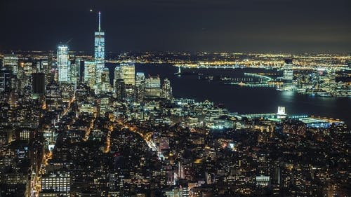 USA, New York City, Manhattan Aerial Panorama Cityscape Skyline. Lights of the City at Night