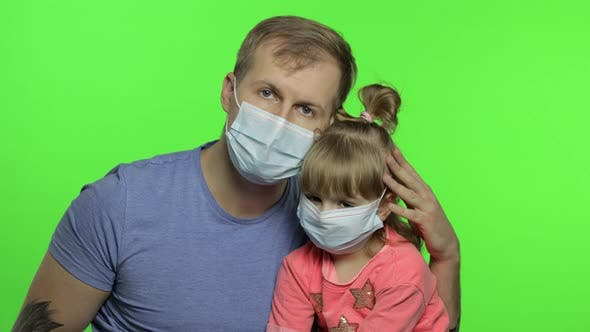 Thumbnail for Sick Father and Daughter in Medical Mask. Coronavirus Concept. Family Quarantine