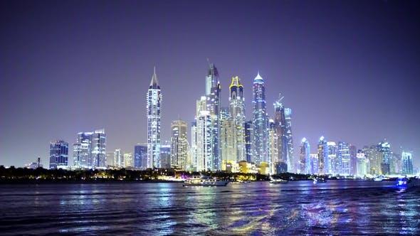 Thumbnail for Night Light Dubai Skyscrapers Illumination, Reflected in the Water, Marina Palm Bay Panorama