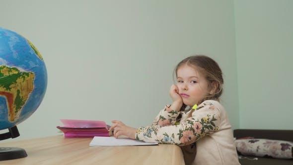 Thumbnail for Tired Little Girl Don't Want To Make Homework
