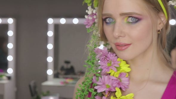Thumbnail for Beautiful Girl with Spring Flowers and Fresh Skin