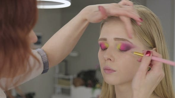Makeup Artist Makes Art Makeup Models
