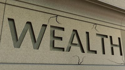 Cracking WEALTH Word on the Stone Facade