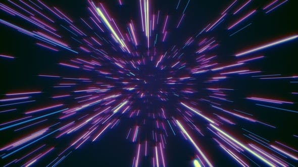 Abstract Retro of Warp or Hyperspace Motion in Blue Purple Star Trail