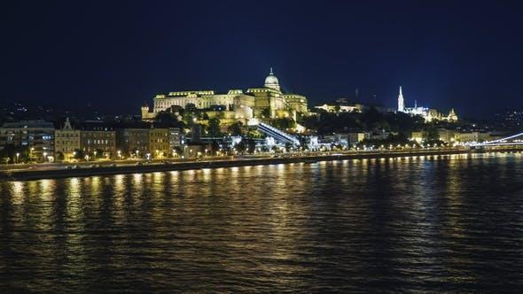 Thumbnail for Panorama of Budapest at Night, Hungary. Beautifully Lit Bridges, Ships Sail Along the Danube