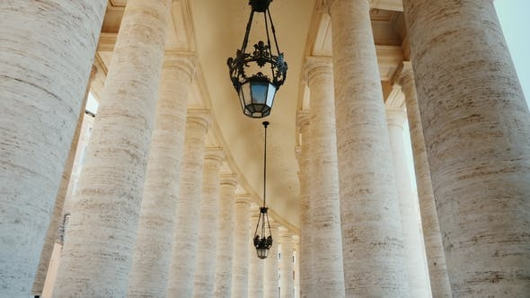 Cover Image for High White Columns, the Wing of St. Peter Church, the Vatican City. Piazza San Pietro, Rome, Italy.