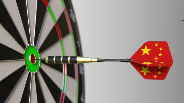 Thumbnail for Flags of the United Kingdom and China on Darts Hitting Bullseye of the Target