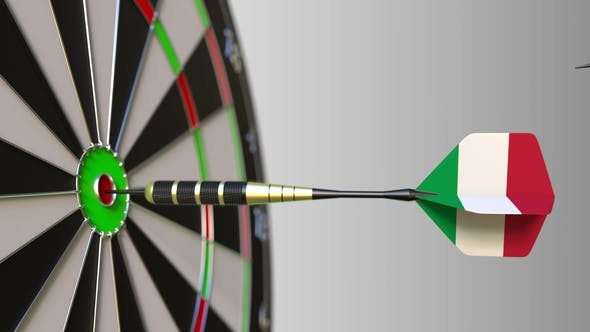 Thumbnail for Flags of the United Kingdom and Italy on Darts Hitting Bullseye of the Target