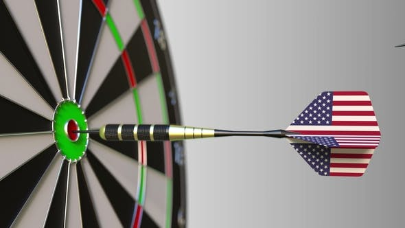 Thumbnail for Flags of China and the USA on Darts Hitting Bullseye of the Target