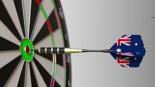 Thumbnail for Flags of the United Kingdom and Australia on Darts Hitting Bullseye of the Target