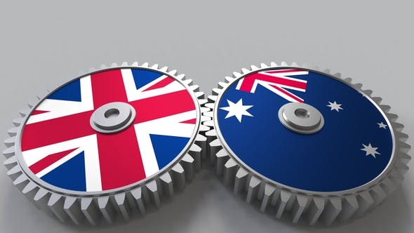 Thumbnail for Flags of the United Kingdom and Australia on Meshing Gears
