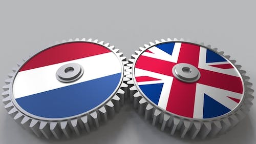 Flags of the Netherlands and The United Kingdom on Meshing Gears
