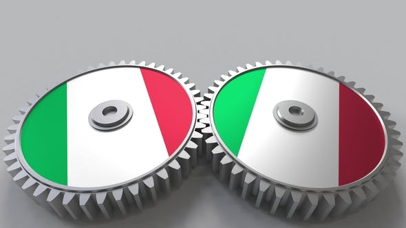Thumbnail for Italian National Project Flags of Italy on Moving Cogwheels