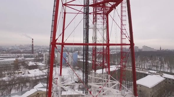 Thumbnail for Aerial View on a Telecommunication Tower in a Winter Cloudy Day