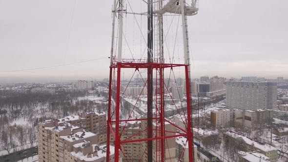 Aerial Shot of a Television Tower in a Winter Cloudy Day