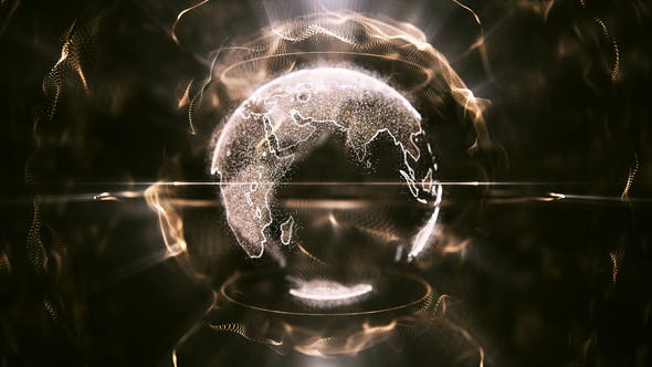 Thumbnail for Golden Particle Earth Abstract