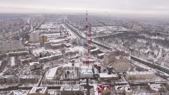 Approaching To a Tv Tower in Daytime in Winter