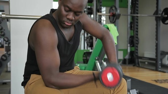 Thumbnail for Man African American Swings His Biceps with a Dumbbell in the Gym.
