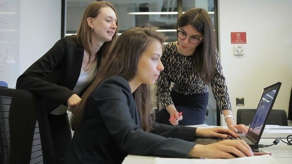 Thumbnail for Three Women Is Working Using Laptop in Large Company.
