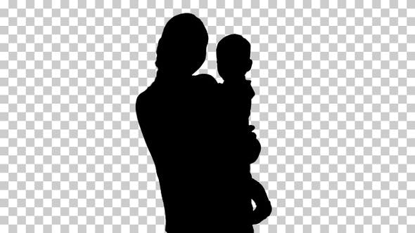 Thumbnail for Silhouette baby in mothers hands, Alpha Channel