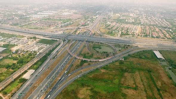 Thumbnail for Aerial view above Motorway & Ring Roads 02