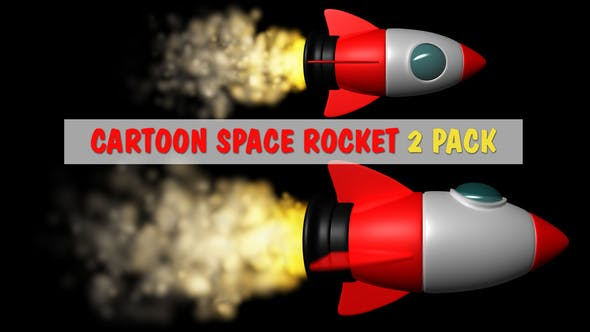 Thumbnail for Cartoon Space Rocket 2 Pack