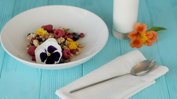 Thumbnail for Female Waiter Hands Puts Plate of Granola with Yogurt, Berries, Nuts on Wooden Blue Table Decorated
