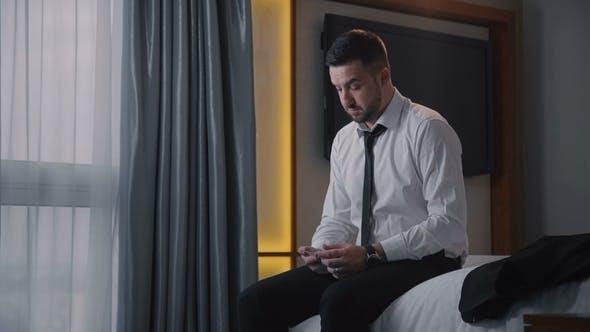 Thumbnail for Bearded Businessman Preparing Speech on Bed