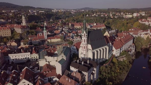 Thumbnail for Aerial Panorama of Cesky Krumlov Old Town