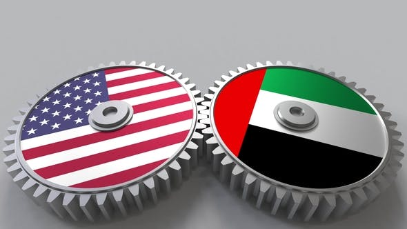 Thumbnail for Flags of the USA and the UAE on Meshing Gears