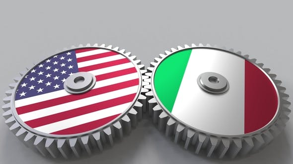 Thumbnail for Flags of the USA and Italy on Meshing Gears