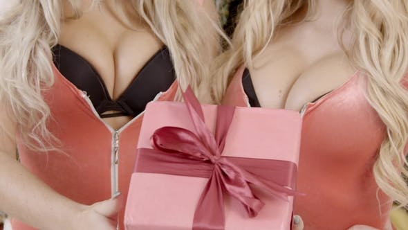Thumbnail for of Busts of Two Sexy Female Santas, Who Holding Christmas Gist in the Hands, .