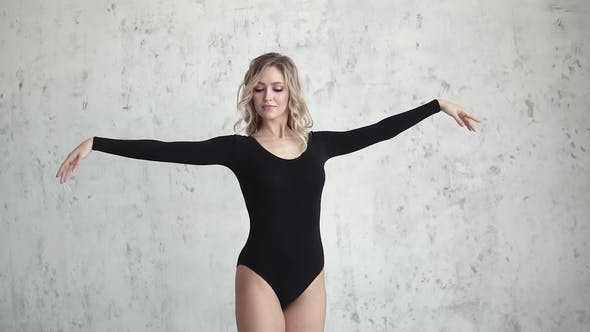Thumbnail for Portrait of a Ballerina in Black Bodysuit. Young Girl Dancer in Black Body and Leggings.