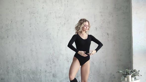 Thumbnail for Young Girl Dancer in Black Bodysuit and Leggings. Ballerina Is Dancing.