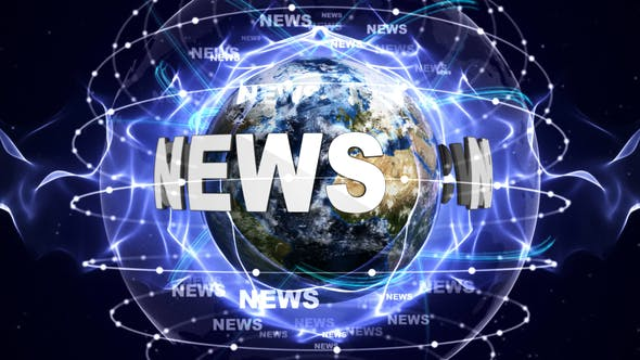 Thumbnail for NEWS Text and Earth, Animation, Background, Loop