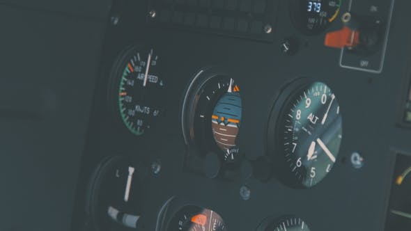 Cover Image for Helicopter Cockpit, High-tech Dashboard, Pilots Operating Plane