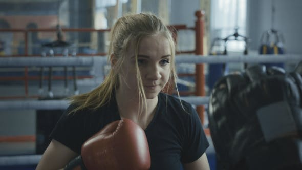 Thumbnail for Boxing Woman Training with Coach on Ring