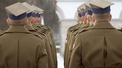 Soldiers Stand in One Line, They Are Awarded Awards