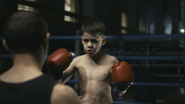 Thumbnail for Man Training with Boy on Boxing Ring